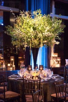 Flowers, Frank Alexander NYC; Venue, Mandarin Oriental, New York; Planner, Jennifer Zabinski Events; Photo: Dave Robbins Photography - New York Wedding http://caratsandcake.com/StaceyandRob