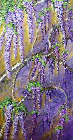 """""""A Shower of Wisteria"""" by Ciska   RedBubble, a painting but beautiful."""