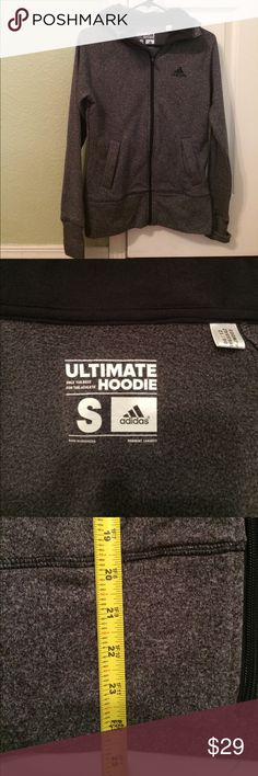 Adidas zippered hoodie Like brand new! Has thumb holes in sleeve and is super comfy and warm! adidas Jackets & Coats