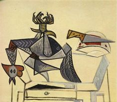 Cock and knife, 1947 by Pablo Picasso, Neoclassicist & Surrealist Period. Cubism, Surrealism. animal painting