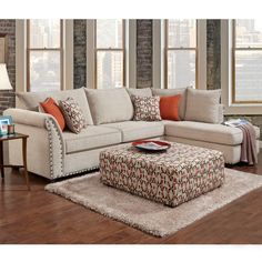 Washington Patton Cream Chenille Sectional with Nailhead | Weekends Only Furniture and Mattress