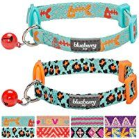 Blueberry Pet Pack of 2 Multiple Designs Adjustable Breakaway Cat Collar with Bell