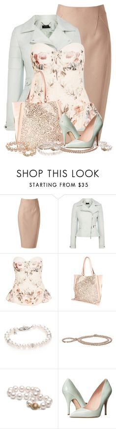 """""""Pastel Leather"""" by missus-sara ❤ liked on Polyvore featuring Donna Karan, Karen Millen, Rosamosario, Mikimoto and Kate Spade"""