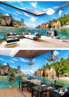 Image of Hawaii Sea view theme space entire room wallpaper wall mural decal Floor Design, Ceiling Design, House Design, 3d Wallpaper For Walls, Photo Wallpaper, Fireplace Kits, Wall Mural Decals, Floor Murals, 3d Home