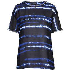 TOPSHOP Tie-Dye Print Tee ($68) ❤ liked on Polyvore featuring tops, t-shirts, blue, blue tie dye t shirt, tie dye tee, tie dyed t shirts, rayon tops and tie dye t shirts