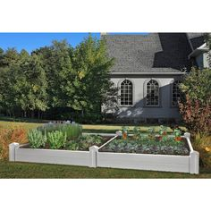 Frame It All White Composite Raised Garden Bed Kit with Animal