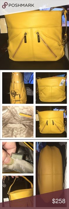 NWT Michael Kors Portland Shoulder Bag NWT LG MK Portland Pebble Leather in a Sunflower color. Great color for summer! I love the way it gathers on the sides and the buckles draw your attention to it!  The interior has 1 zip and multi slip pockets, the outside has 2 zip pockets and 2 open pockets on the front, the back has 2 more open pockets. Lots of room in this beauty! Gold hardware and zipper closure, Measurements are 15 X 10 X 6 MICHAEL Michael Kors Bags Shoulder Bags