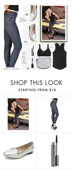 """""""New High-Waist Skinny Jeans Made in USA by Bullet Blues"""" by bulletblues ❤ liked on Polyvore featuring Club Monaco, Bullet, MAC Cosmetics, skinnyjeans, MADEINUSA, WomensJeans and americanmade"""