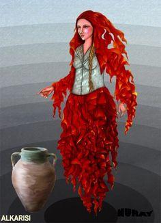 """AL KARISI - AL BASTI Ulu Ana yani Ana Tanrıça arketipinin olumsuz türevidir. Albastı, Al karısı, genellikle kırmızı siyah uzun elbise giyer. Bazı mitolojik metinlerde ise, dünyadaki en güzel kadından bin kat daha güzel olduğu anlatılır. Bazı edebi metinlerde çirkin, saçları dağınık, avurtları çökmüş, güçlü kuvvetli ve uzun boylu olarak tasvir edilir. Bazı inançlarda """"cadı kadın"""" anlamında kullanılır. Baş al bastı, iri gözlere sahip, baştan aşağı demir giyimli ve erkektir. En çok sevdiği şey…"""