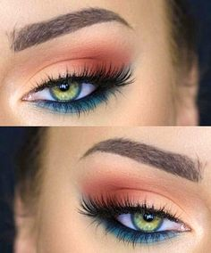 Lashes + Blue Under Eye + Amber Outer V + Peach Inner V