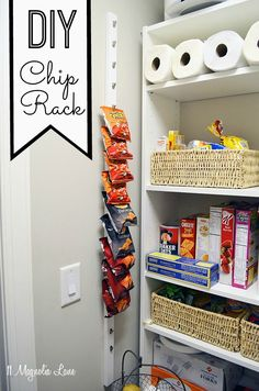 DIY this vertical wall-hanging chip rack for your pantry for about $10--great way to maximize storage!