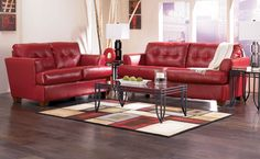 Two Pieces Red Full Grai Leather Sofa With Armrest And Black ...