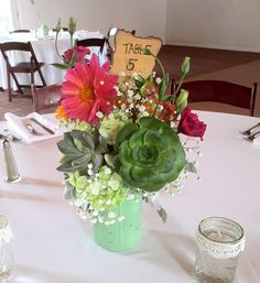 Painted Mason Jar Centerpiece with Succulents, Dahlias, Lisianthus, Roses, Hydrangea, and Babies Breath