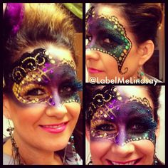 Madri gras makeup face mask makeup fantasy makeup face painting paired mask