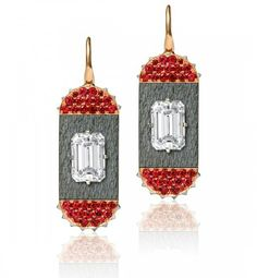 Tablette Earrings – Each centering an emerald-cut diamond, weighing a total of 4.06 carats, with additional pavé set spinels and reverse set diamonds. Mounted in steel, platinum and 18k rose gold. By James de Givenchy