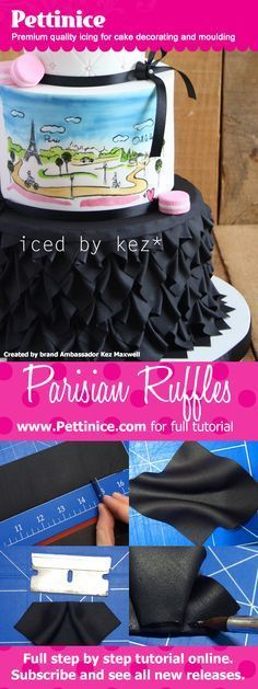 Pettinice brand Ambassador Kez Maxwell shows you step by step how to make these beautiful Parisian inspired ruffles for your next cake. Bakels Pettince Premium quality icing for cake decorating and moulding