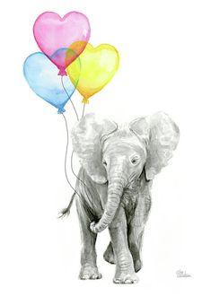 Elephant art print featuring the painting watercolor elephant with heart shaped balloons by olga shvartsur Baby Elephant Nursery, Baby Nursery Art, Cute Baby Elephant, Elephant Art, Elephant Tattoos, Nursery Prints, Elephant Watercolor, Watercolor Painting, Nursery Decor