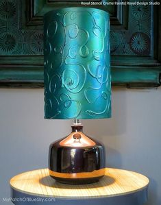 Metallic Teal Stencil Crème painted on a lampshade  DIY Metallic Lampshade with Royal Design Studio stencils supplies and Royal Stencil Creme Paints
