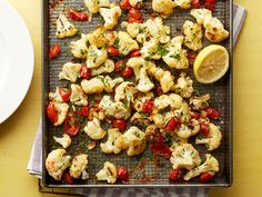 Roasted Italian Cauliflower. I try to limit the amount of tomatoes we eat, but  little bit occasionally hasn't affected weight loss. Maybe go light on the tomatoes. #cauliflower-obsession. Paleo.