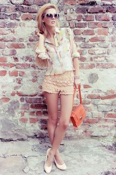 Peach Crocheted Lace Shorts