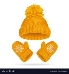 Yellow Hat with a Pompom and Mitten Set Knitted Seasonal Winter Accessories Vect… Ustrugar zima Yellow Hat with a … Clipart, Sensory Art, Winter Illustration, Everyday Objects, Illustrations And Posters, Winter Accessories, Christmas Pictures, Winter Season, Hats For Women