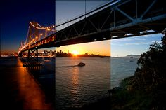 Triptych night/day/sunrise or sunset