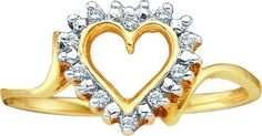 10KT Yellow Gold 0.05CTW DIAMOND LADIES HEART RING: Rings