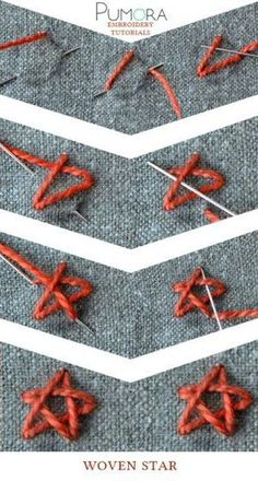 Crewel Embroidery Patterns woven star stitch tutorial - Learn how to embroider with the lexicon of embroidery stitches. Step by step tutorials on how to do the straight stitch and it's variations. Embroidery Stitches Tutorial, Crewel Embroidery Kits, Simple Embroidery, Embroidery Needles, Hand Embroidery Patterns, Embroidery Techniques, Ribbon Embroidery, Sewing Techniques, Cross Stitch Embroidery