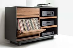 AERO Stereo Cabinet with LP Album StorageYou can find Lp storage and more on our website.AERO Stereo Cabinet with LP Album Storage Audio Room, Vinyl Record Storage Shelf, Hifi Furniture, Furniture, Modern Media Console, Modern Room, Stereo Cabinet, Media Console, Stereo Console