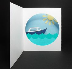Boat Diorama Card. Click on link for templates. http://www.birdscards.com/free-digital-cut-files/shaped-cards/