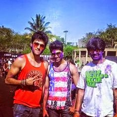 Parth with his friends in holi!