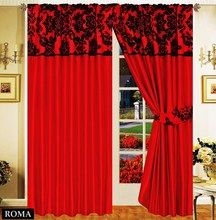Half Flock with Plain Design Fully Lined Ready Made Pencil Pleat Curtains - Red with Black - RV Your Price: £19.99