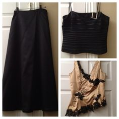 Interchangeable dressy combo 3 separates: long black satin skirt size 10, gold satin top with black lace and beading size 10, black stretch and satin top with satin sash and rhinestone clasp size 10. All purchased at lord and taylor. Tops are interchangeable and all in excellent condition. Perfect for a wedding or special occasion. From a smoke and pet free homeNO TRADES Dresses