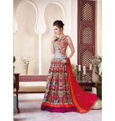 Attractive Designer Vipul Party Wear Gown In Grey & Red Color