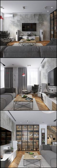 98 custom design tv wall tips for the living room 64 Interior Design Kitchen, Modern Interior Design, Interior Design Inspiration, Interior Design Living Room, Living Room Designs, Living Room Decor, Bedroom Decor, Appartement Design, New Homes