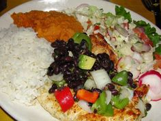 Pollo Salsa Habichuela - Grilled #chicken breast with black beans, #avocado, cilantro served with coco yams from Boca Chica