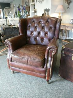 Vintage Leather Club Chair brown leather button Back arm chair Leather Club Chairs, Leather Sofa, Chesterfield, Pub Decor, Home Decor, Lounge Club, Snug Room, Lounge Design, Mecca