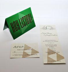 Legend of Zelda inspired wedding invitation set. Geek wedding.