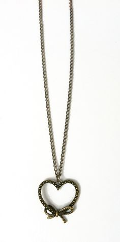 Vintage bow heart necklace