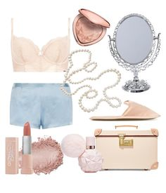 """""""♢ At the dressing table ♢"""" by deadroses14 ❤ liked on Polyvore featuring Globe-Trotter, M&S, La Perla, Too Faced Cosmetics, Maybelline and Charlotte Olympia"""