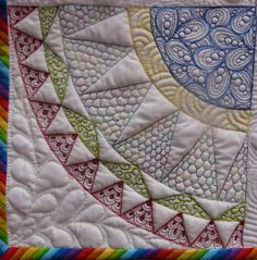 Quilting with color thread. Great way to show off my handquilting!