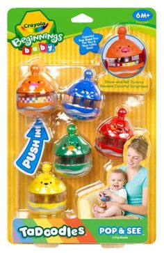 Crayola Beginnings Baby Pop and See by Crayola. $12.99. Mix, nest and stack colorful tadoodles. Helps introduce spatial awareness and problem solving skills. Each tadoodle will light up and play different music. 5 Snap together pop beads featuring different colors and patterns. From the Manufacturer                Crayola Beginnings Baby Pop and See                                    Product Description                Ta Doodles Pop & See helps to develop your child's m...