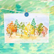 Рисуем с детьми: штампуем листьями. Шаг 6