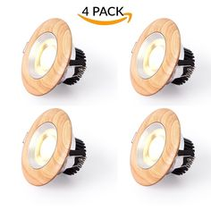 LED Spotlight Recessed Retrofit Lighting Fixture Kit,Low Volt Small Round Real Wood Spot Lamps with Drivers,Foco Downlighters for Ceiling,5W 3000K Warm White Light,430LM,CRI>85 (4 Pcak)
