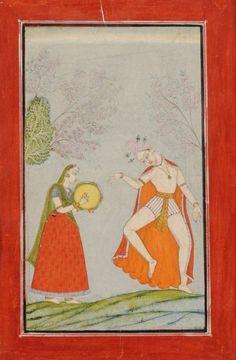 Bhramananda, Putra de Malkhos. Illustration d'un Ragamala, Gouache sur page d'album à marges rouges, Haut Pendjab, Bilaspur, vers 1730 - 40