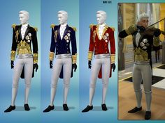 A victorian style uniform to be worn by his royal Majesty the King or a prince of the royal family as this top is for males teen to eldar. It comes in 3 versions, black, blue and red. The coat has...