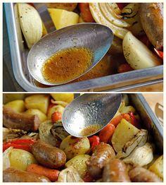 4 sausages (beef or pork)  1 pound potatoes  1/2 pound carrots  1/2 bell pepper  1 large onion  1 fennel bulb  2 garlic cloves  2 tbsp oil  freshly cracked black pepper  1 1/2 tsp Italian herbs  1/2 cup chicken broth   4 tbsp balsamic vinegar