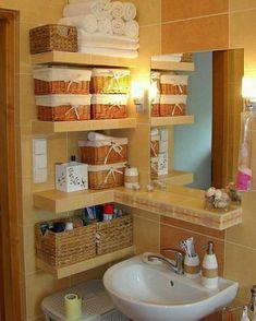 """220 Likes, 2 Comments - Casinha Arrumada   Inara Souza (@casinhaarrumada) on Instagram: """"Banheiro super organizado e lindo! Adorei a ideia de usar essas cestinhas para organizar! Elas…"""""""