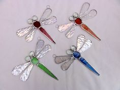 Stained Glass Dragonfly Suncatcher - Amber - Folksy