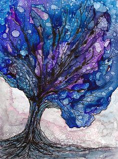 LONE TREE..LONE TREE  ALCOHOL INK & PITT PEN As usual with this medium, this did not turn out the way I hoped, but not much with Alcohol Ink does...for me at least...:) ♥